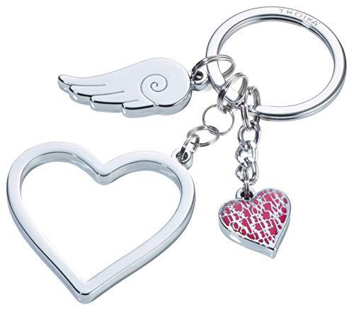 Troika Love Is In The Air - KR17-01/CH - Schlüsselanhänger mit 3 Anhängern - Herz(groß), Herz(klein), Flügel - glänzend - silber - das Original von Troika