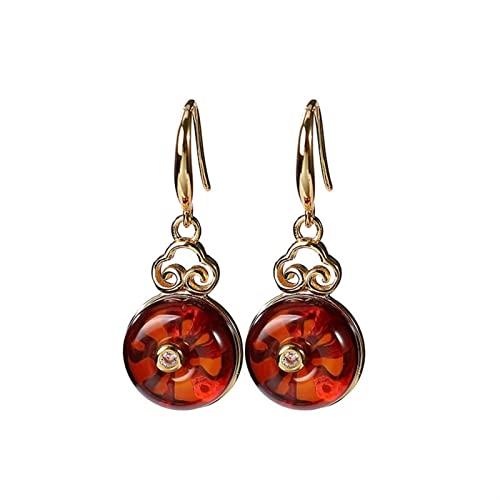 GaYouny Earings S925 Silver Gold-Plateado Pendientes Mujeres Pendientes Redondos Pendientes Cumpleaños Día De San Valentín Regalo