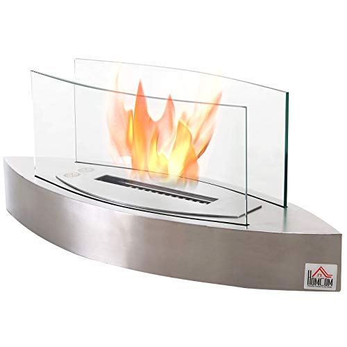 HOMCOM Portable Tabletop Ventless Bio Ethanol Fireplace Glass - Stainless Steel