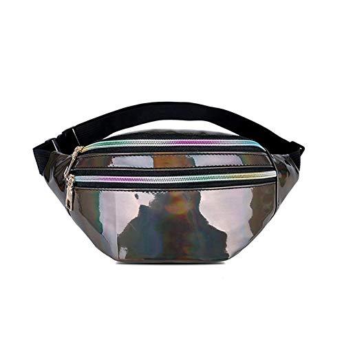 Riñonera holográfica para mujer de plata láser riñonera de viaje brillante riñonera bolsos de moda niñas de cuero rosa holograma Hip Bag gris