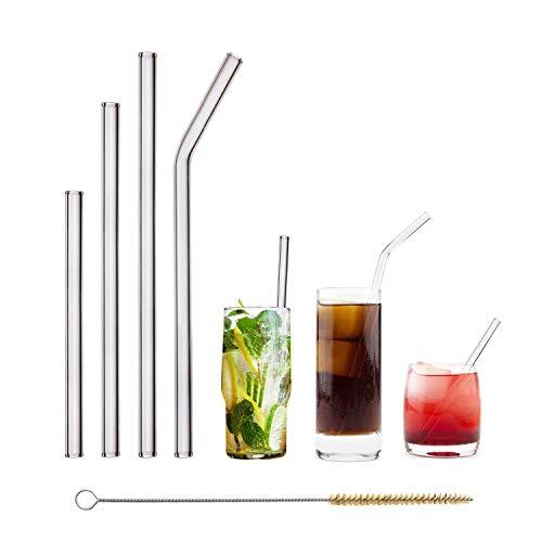HALM Glas Strohhalme Wiederverwendbar Trinkhalm - Starter Set 4 Stück Glastrinkhalme + plastikfreie Reinigungsbürste - Spülmaschinenfest - Nachhaltig Glastrinkhalme Glasstrohhalme - Cocktail Smoothie