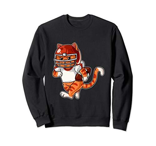American Football Katze Rugby Kätzchen Spielfeld Miezekatze Sweatshirt