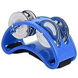 Percusión de pandereta de pie, tambor de caja de cajón elíptico, niños portátiles ligeros para banda KTV adultos(blue)