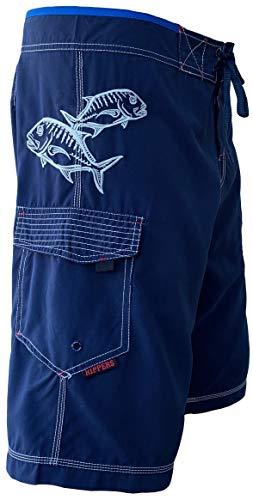 Maui Rippers Men's Board Shorts - Ulua Fish   Triple Stitch Quick Dry Men's Swim Trunks (Navy Silver, 34)
