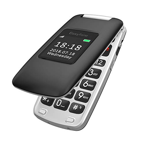 Easyfone Prime A1 3G Teléfono para Personas Mayores con Tapa, Audífonos Compatibles, Teclas Grandes, Cámara de 2.0MP, Fácil de Usar Celular para Ancianos con SOS (Negro)