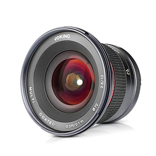 Voking 12mm f/2.8 Ultra Wide Angle Manual Fixed Lens with Removeable Hood for MFT Micro Four Thirds Panasonic Olympus Lumix Mirrorless Cameras