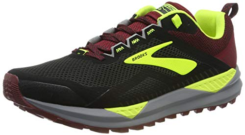 Brooks Herren Cascadia 14 Laufschuhe, Schwarz (Black/Red/Nightlife 031), 42.5 EU