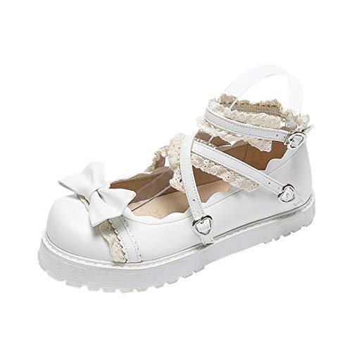 Frauen Lolita Prinzessin Schuhe Sweet Style Spitze Bowknot Schnalle Riemen Kleid Schuhe Runde Zehen Flacher Mund Mary Jane Schuhe