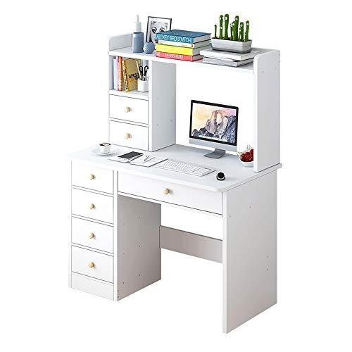 HEMFV Escritorio ergonómico para computadora Escritorio de la computadora, escritorio simple y combinación Estantería de libros, Librería casa sencilla en uno, dormitorio de escribir del estudiante tu
