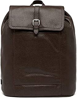 Cole Haan Mens Large Pebbled Leather Flap Laptop Backpack Java Brown