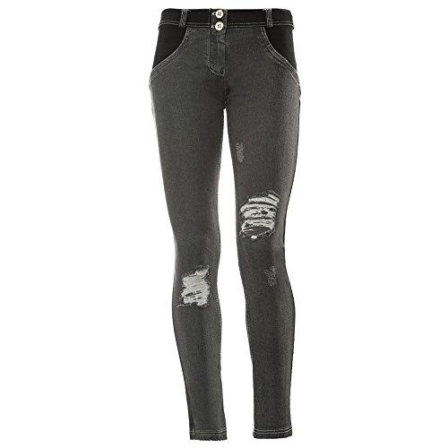 WR.UP® Skinny Taille Basse en Vrai Denim avec détails rapiécés sur Le Devant - Jeans Noir-Couture Gris - Large