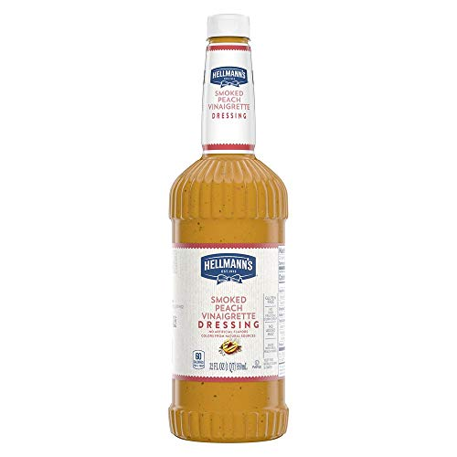 Hellmann's Smoked Peach Vinaigrette Salad Dressing Salad Bar Bottles Gluten Free, No Artificial Flavors, added MSG or High Fructose Corn Syrup, Colors from Natural Sources, 32 oz, Pack of 6