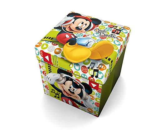 Star Disney Topolino & Amici Art. cod. 54671, Pouf contenitore con cuscino stampato, dimensioni: 32 x 32 cm