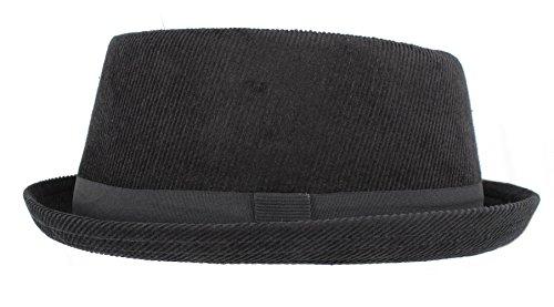 Hawkins Pork Pie H95 - Sombrero de Pana Negro (Hombres, Mujeres, Unisex) - S/M 57cm