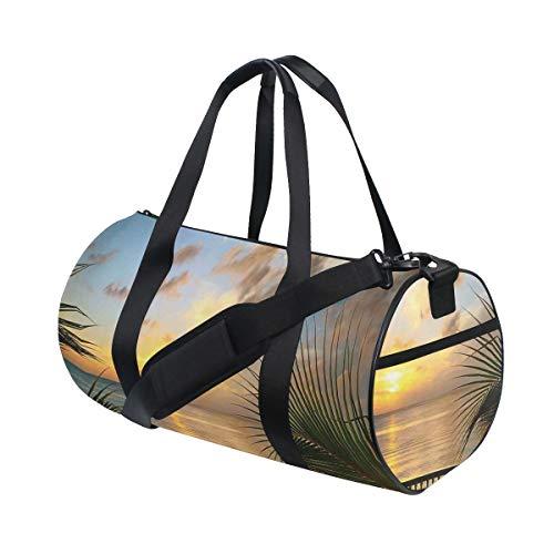 HARXISE Sporttasche Reisetasche,Mediterraner Horizont Seestück Balkon Zäune Urlaub Leben Foto,Schultergurt Handgepäck für Übernachtung Reisen