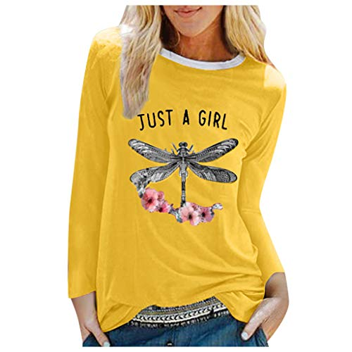 Frauen Sommer Druck Langarm Shirt Casual Tops Bluse
