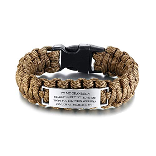 LF Boys Stainless Steel Outdoor Rescue Rope Hiking Camping Hunting Paracord Survival Grandson's Cuff Bracelet Sentimental Motivational Grandson Bracelet fron Grandpa Grandma for Birthday Gift