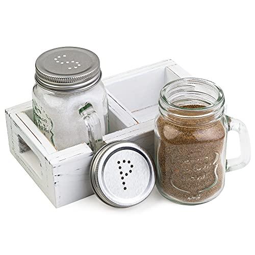 Farmhouse Salt And Pepper Shakers Set White Kitchen Table Decor Rustic Shaker Vintage Mason Jars Cabin Retro Chic Old Box Kitchenware // Willow & Eva