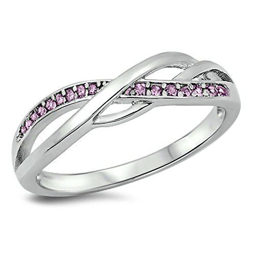 Pink CZ Criss Cross Celtic Knot Ring New .925 Sterling Silver Band Size 4