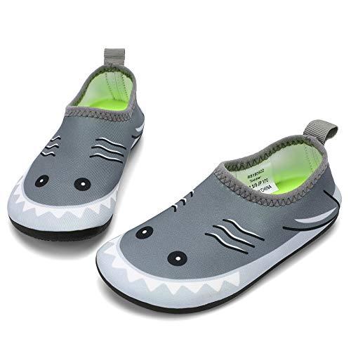 RANLY & SMILY Boys Water Shoes Slip On Toddler Kids Barefoot Beach/Swim Aqua Socks Gray/Shark 7-8 M US Toddler