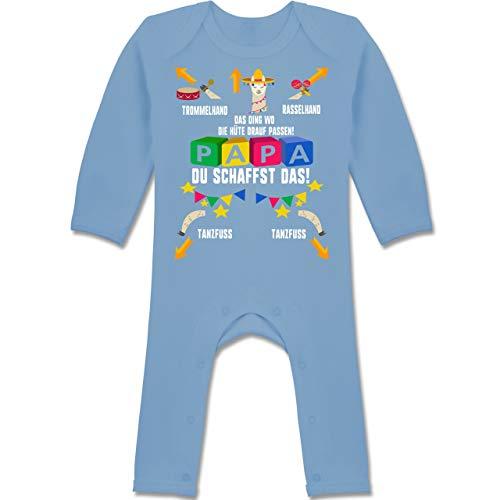 Shirtracer Strampler Motive - Papa du schaffst das Lama - 6/12 Monate - Babyblau - Strampler lama - BZ13 - Baby-Body Langarm für Jungen und Mädchen