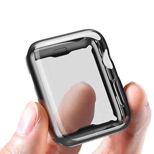 corki Apple Watch Hülle 38mm Bildschirmschutz, Weiche Superdünne TPU Schutzhülle R&herum Schutz Schlankes Hülle für iWatch Apple Watch Series 3 Series 2 Series 1 Edition Nike+ (Schwarz)