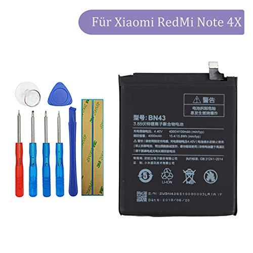 Tangzhi BN43 Batería de Repuesto Compatible con Xiaomi RedMi Note 4X con Kit de Herramientas 3,85 V 4000 mAh