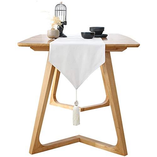 JLXJ Runner Runner da Tavola Bianco con Nappe per Cucina in Agriturismo Decoro caffè, Tovaglia in Lino in Cotone in Stile Moderno (Size : 33cm x 220cm(13