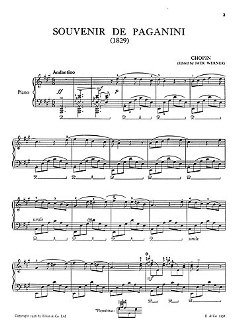 SOUVENIR DE PAGANINI - arrangiert für Klavier [Noten / Sheetmusic] Komponist: CHOPIN FREDERIC