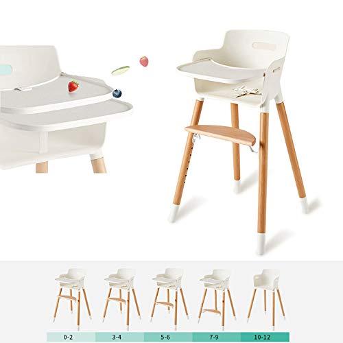 MMYYIP Baby hoge stoel, een tafel 3 in 1 set voor houten kinderstoel, verwisselbare tafels, verplaatsbare lade, kinderzitje, evolutie en verstelbare opvouwbare kinderkinderstoel