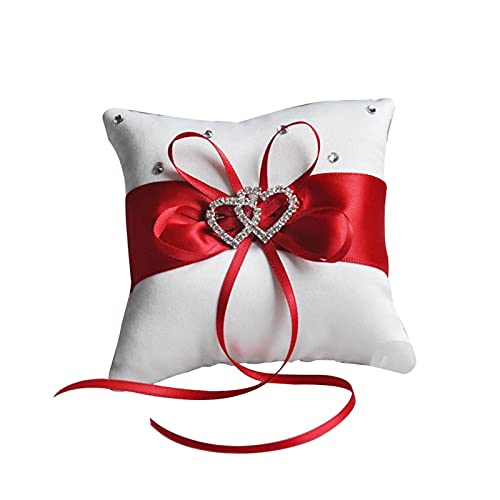 ppqq Varios Tipos de Almohadas para Todos Anillo de Boda Almohada Cinta Bowknot Rhinestones Decoración del corazón Party Satin Cushion (Color : Red 10x10CM)