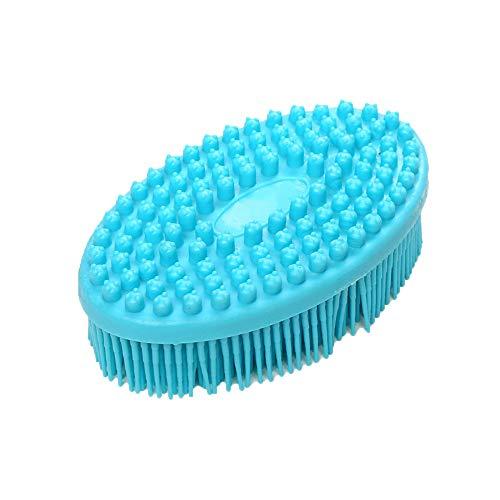 Brosse de Bain en Silicone - Serria Brosse de douche Cheveux Masseur Masseur Corps Doux Lavage Masseur Loofah Brosse Shampooing Brosse pour exfolier la Peau - améliorer la Circulation (Bleu)