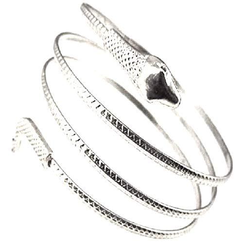 Deanyi Armband Ägyptische Spiral Snake Wrap Around Armmanschette Coil Armreif ägyptischen Armband Schlange Entwurfs für Frauen (Silber) Schmuck