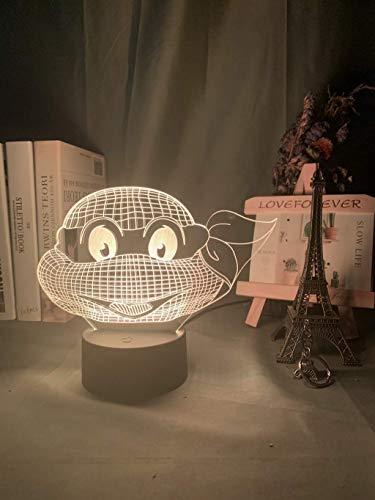 TMNT - Luz nocturna para niños, diseño de holograma en 3D