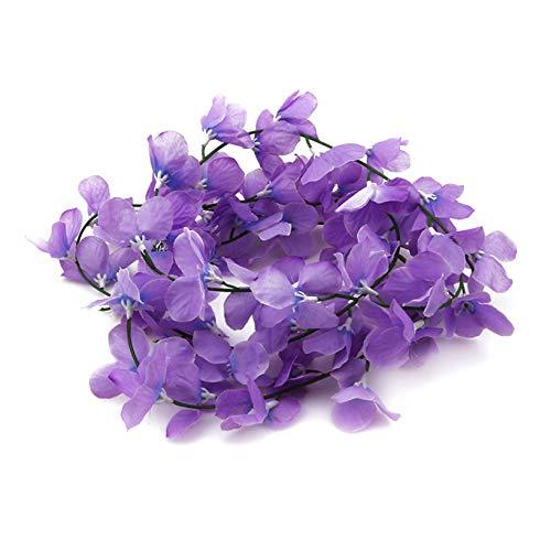 Aiasiry Flores Artificiales de Vid Que cuelgan para la decoración de la Pared del jardín del Banquete de Boda del hogar (púrpura)