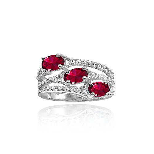 Ice Gems Sterling Silver Created Ruby and White Topaz Oval Three Stone Ring, Size 7