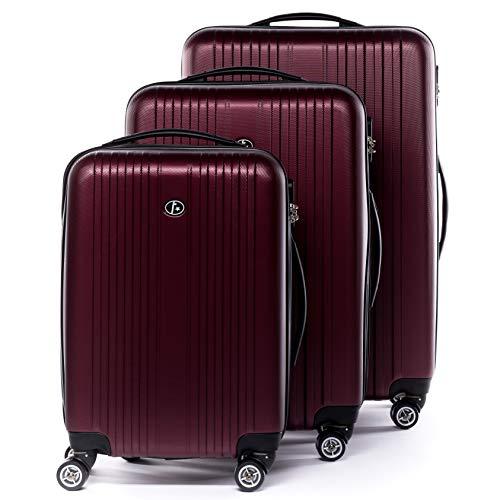 FERGÉ Kofferset Hartschale 3-teilig Toulouse Trolley-Set - Handgepäck 55 cm, L und XL 3er Set Hartschalenkoffer Roll-Koffer Reisekoffer mit 4 Rollen ABS rot