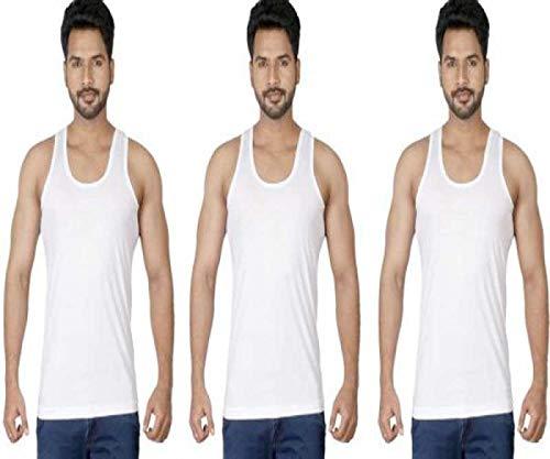Macho Men's Cotton Vest , Pack of 3 (White , 95 cm)