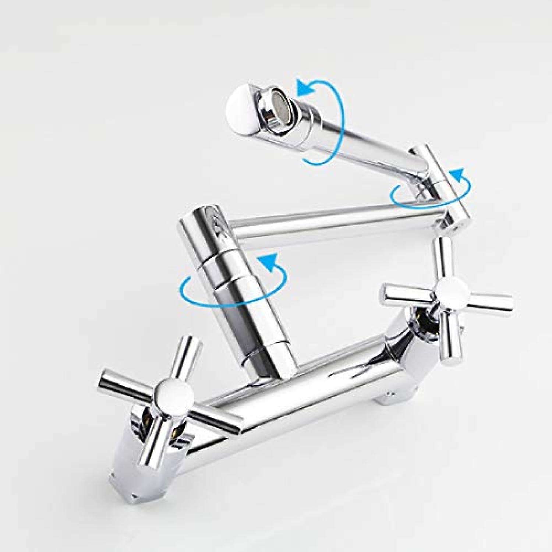 UKE Klappküchenarmatur, Einlochmontage Doppelgriff Wandmontage Gewerbliche Küchenarmaturen Klappbarer, dehnbarer Doppelgelenk-Schwenkarm