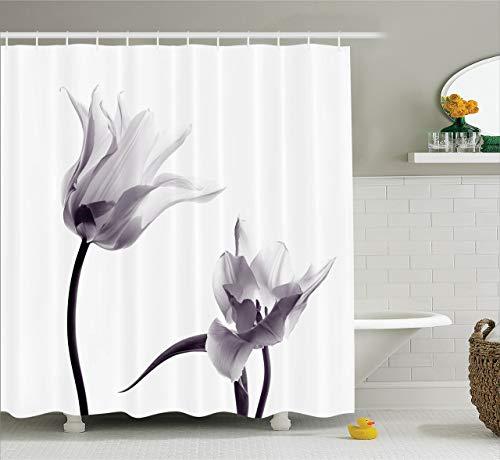 oooooo Haus Dekor Duschvorhang von Close Up Digital gesättigte Tulpenblüten mit minimalistischen verblassten Effekt Artsy ImageStoff Badezimmer mitlila & weiß 183 * 183CM