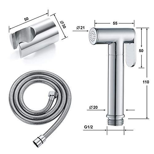 ZHHID Bidet Handbrause - Messing Toilette Bad Bidet Set für Persönliche Hygiene, Stoffwindel-Reinigung und WC-Waschen - Edelstahl Schlauch
