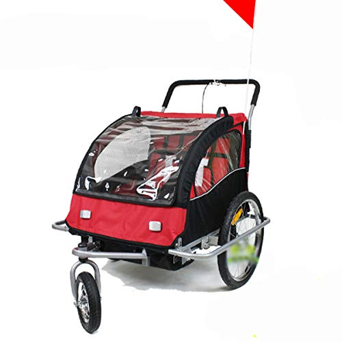 QQLOV Kids Bicycle Trailer 2 in 1 Stroller Jogger Pushchair 2 Seater Foldable Childs Bicycle Trailer for 2 Kids 145x89x100cm Steel Frame Red