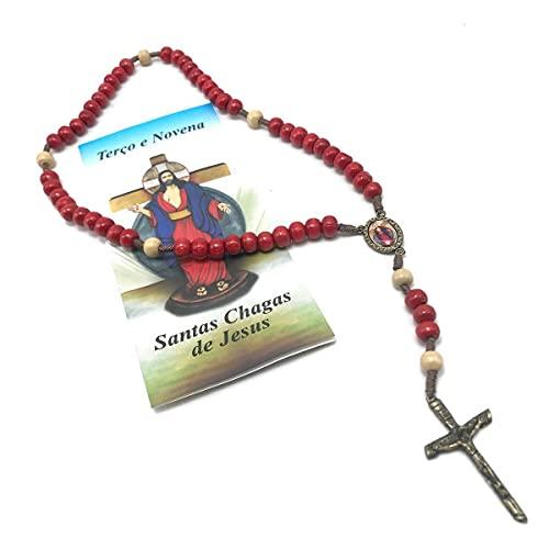 Terço Com Folheto De Oração Das Santas Chagas Resina Vermelho