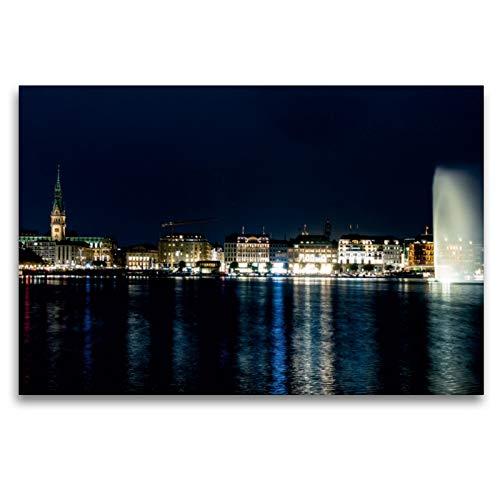 Premium Textil-Leinwand 120 x 80 cm Quer-Format Hamburg - Binnenalster | Wandbild, HD-Bild auf Keilrahmen, Fertigbild auf hochwertigem Vlies, Leinwanddruck von Thomas Seethaler