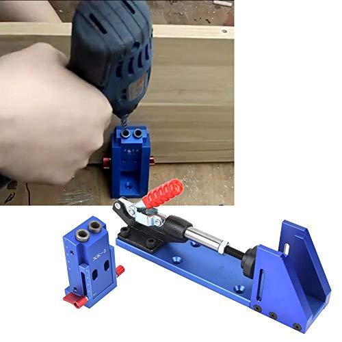 Naroote 【𝐍𝐞𝒘 𝐘𝐞𝐚𝐫】 Pocket Hole Jig Drill Guide, Undercover Jig Bohrer Taschenloch Bohrvorrichtung Puncherpositionierer Für Holzbearbeitungswerkzeuge mit Knebelklemme und Stufenbohrer