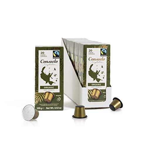 Consuelo - Capsule di caffè espresso compatibili Nespresso - Biologico, 100 capsule in 5 confezioni da 20, nuovo design migliorato