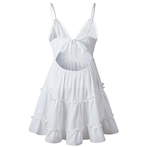 Overdose Mini Vestido Sin Respaldo De Las Mujeres De Verano Blanco Fiesta De Noche Vestidos De Playa Sundress Encaje con Cuello En V (M, Blanco)
