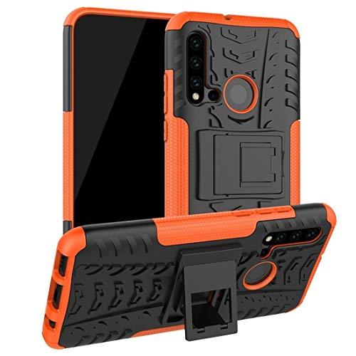 PANCASE Caja Protectora Tire Texture TPU PC Funda Protectora a Prueba de Golpes con Soporte Accesorios para telefono Celular (Color : Naranja)