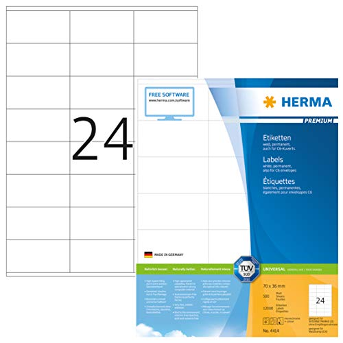 HERMA 4414 Adressaufkleber DIN A4 (70 x 36 mm, 500 Blatt, Papier, matt) selbstklebend, bedruckbar, permanent haftende Universal Etiketten, 12.000 Klebeetiketten, weiß