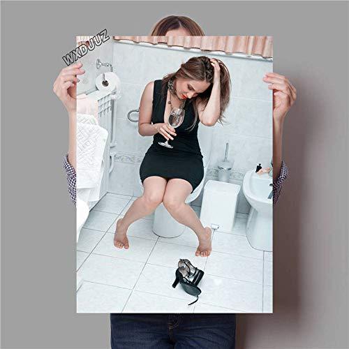 YWOHP Cartel Vintage Estilo Inodoro Arte decoración del baño Carteles e imágenes decoración de la habitación de los niños decoración del hogar Lienzo pintura-60_x_85_cm_No_Frame_12
